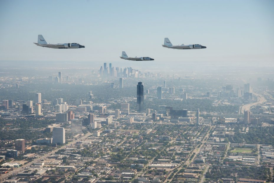 NASA's WB-57 aircraft flying in formation over Houston and JSC, photographed from a Navy T-6 aircraft. Photo Date: November 19, 2015. Photographer: Robert Markowitz
