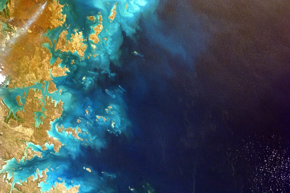 This image of the northwest corner of Australia was snapped by a student on Earth after remotely controlling the Sally Ride EarthKAM aboard the International Space Station. The program allows students to request photographs of specific Earth features, which are taken by a special camera mounted on the station when it passes over these features.