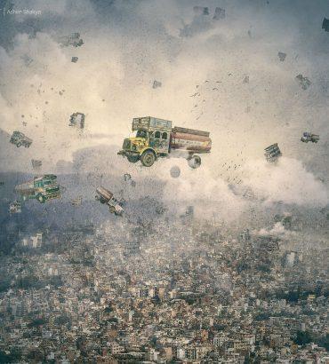 Kathmandu based artist Ashim Shakya's rendition of Kathmandu Chaos and its recent hardships