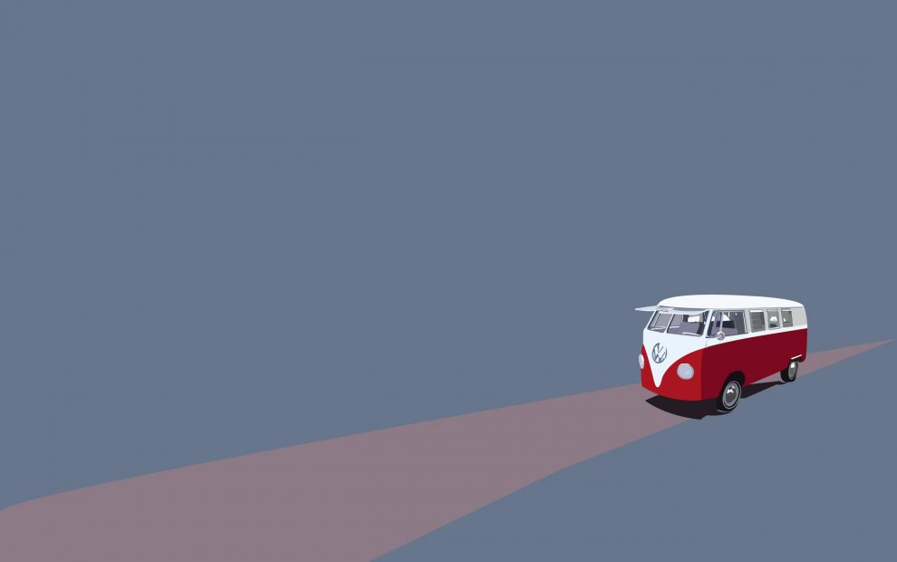 Minimalist-bus-vector-road-art-hd-wallpaper